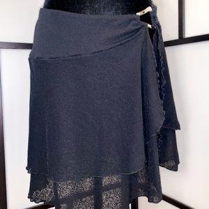 Layered Swimwear Coverup Skirt with Slit